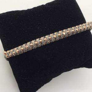 Rose Gold Tone Bead & Gray Stella & Dot Bracelet